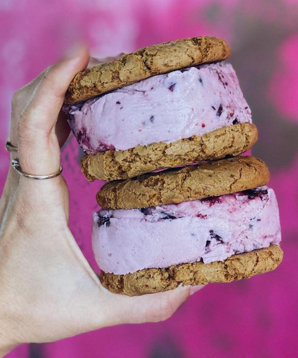 two vegan ice cream sandwiches from Roho Bure