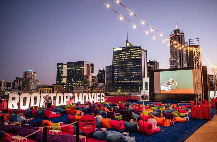 Rooftop Movies at dusk