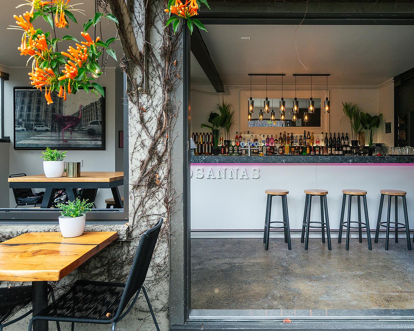 The interior at Rosanna's garden bar.