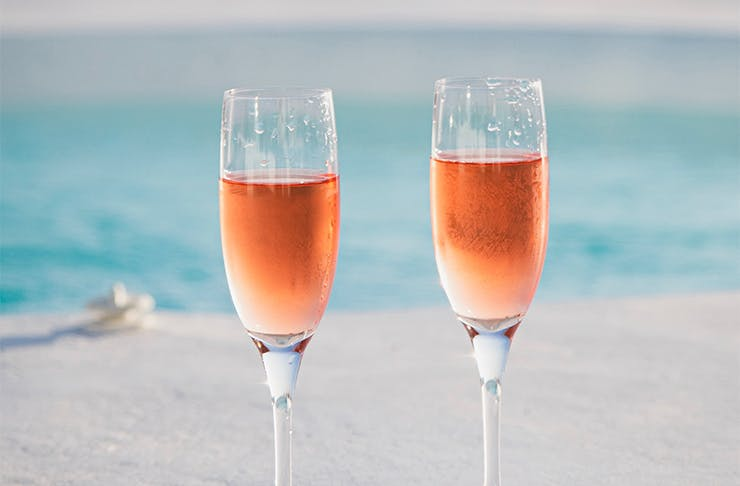 two glasses of rose