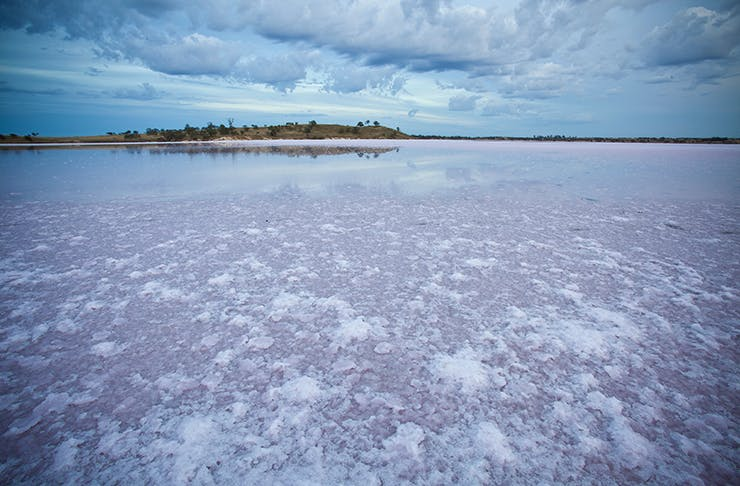 The expansive salt lakes of Victoria's Murray Darling Sunset Park stretching into the horizon.