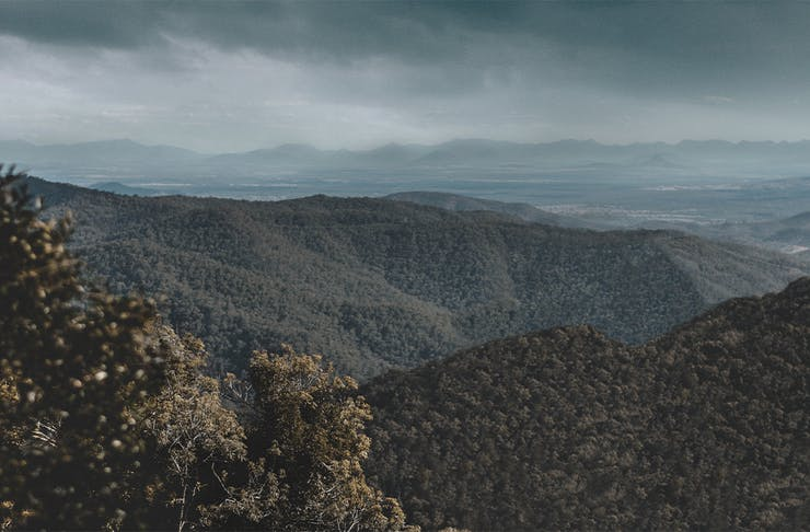 View of the mountains from a Mt Nebo lookout