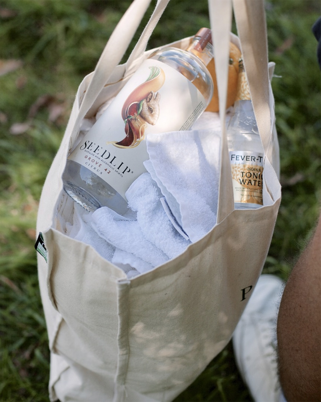 Someone heads out with Seedlip and Fever Tree tonic stashed in his bag.