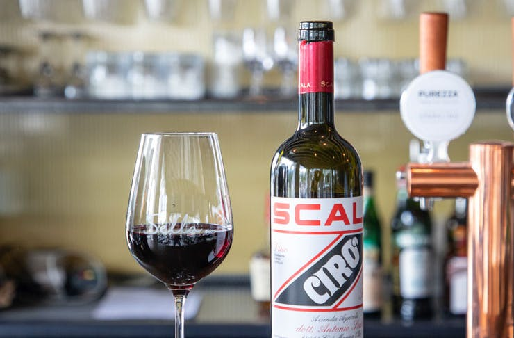 A bottle of red wine with a glass of red wine.