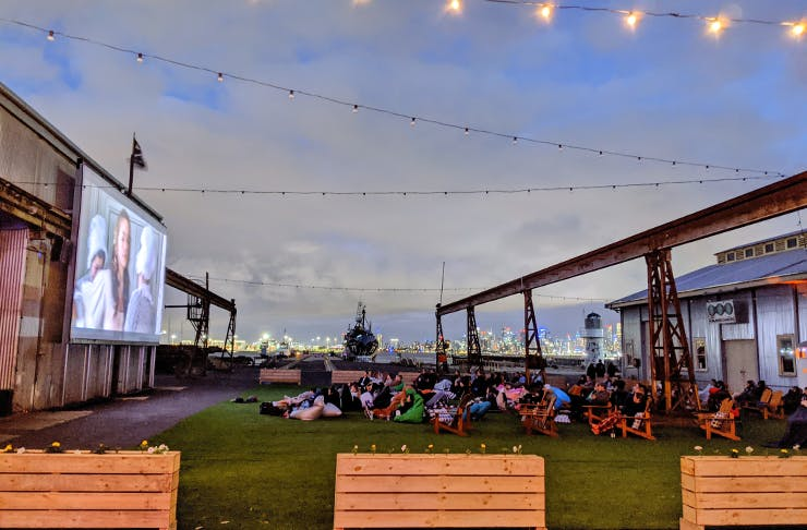 An outdoor cinema by the Williamstown docks.