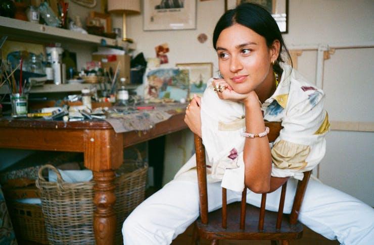 Sydney artist Gabrielle Penfold poses in her artist studio.