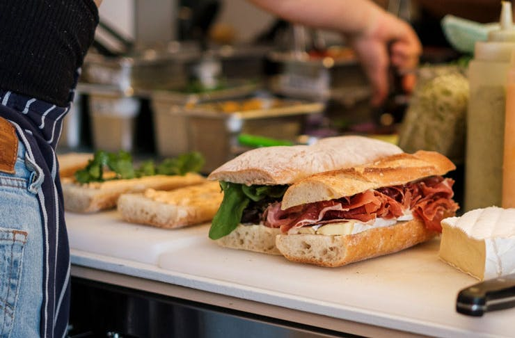 Sandwiches being made at Small's Deli.