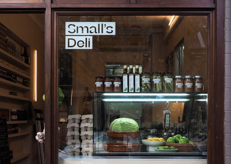 The front window of Small's Deli in Sydney