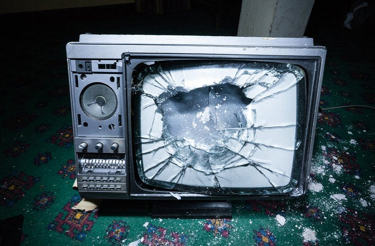 A smashed tv