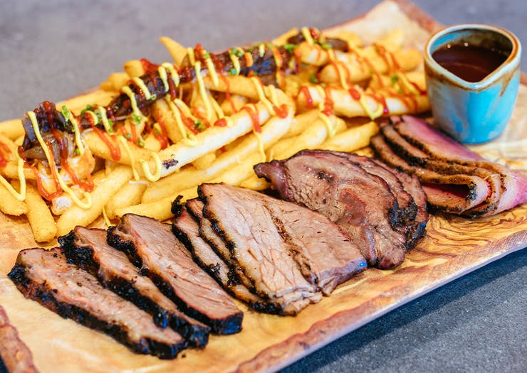 Platter of meat and chips
