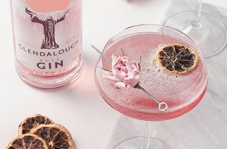 A deliicous looking pink gin.