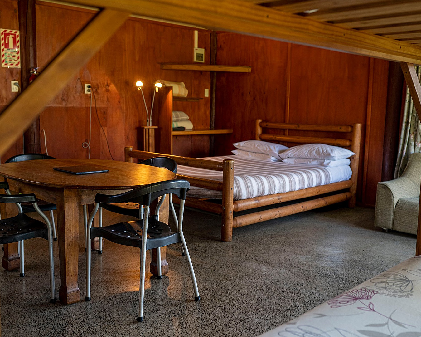 A wooden cabin at Solscape looks well appointed.