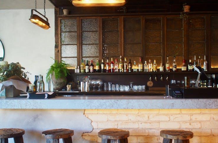 The rustic bar at Noosa pizzeria, Somedays Noosa.