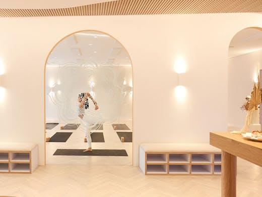 The softly lit yoga studio, Soul Agenda, in Balmain, in Sydney.
