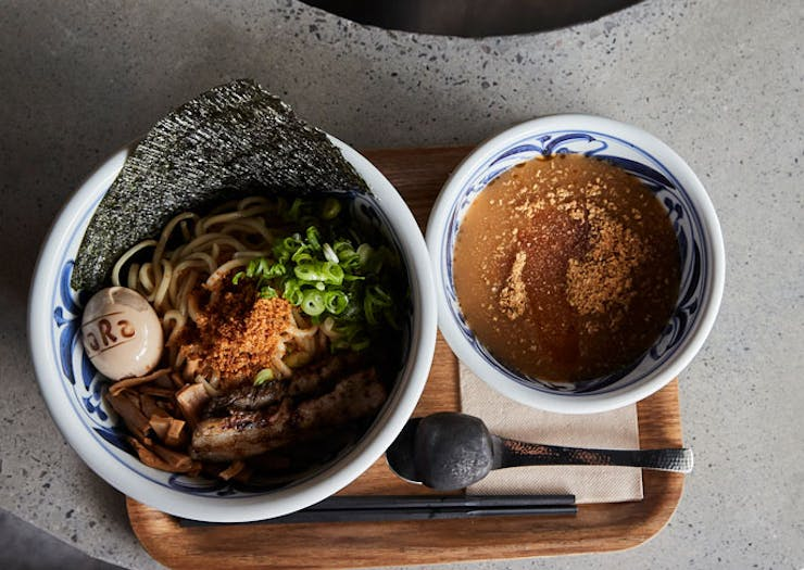 A bowl of tsukemen-style ramen from RaRa Chan at South Eveleigh.