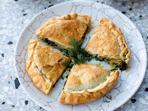 A plate of spanakopita pastry