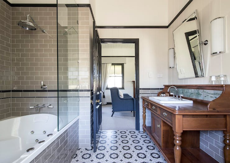 Inside of a stylish bathroom