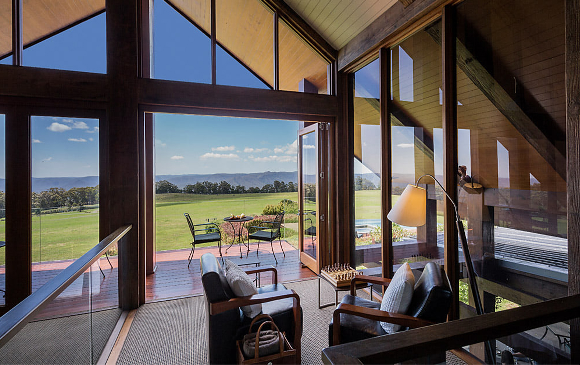 The lounge looking over the paddocks at Spicers Peak Lodge