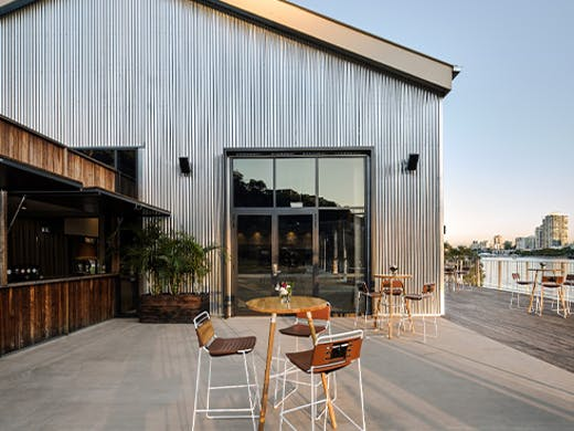 an industrial looking outdoor bar