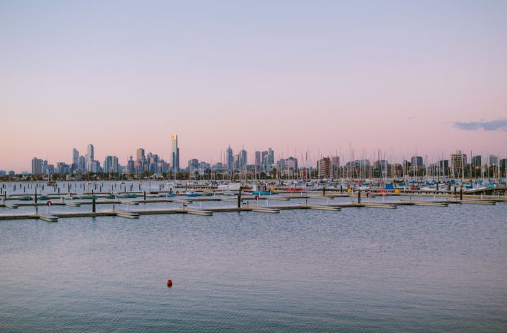 St Kilda Marina at sunset, the Melbourne CBD in the background.