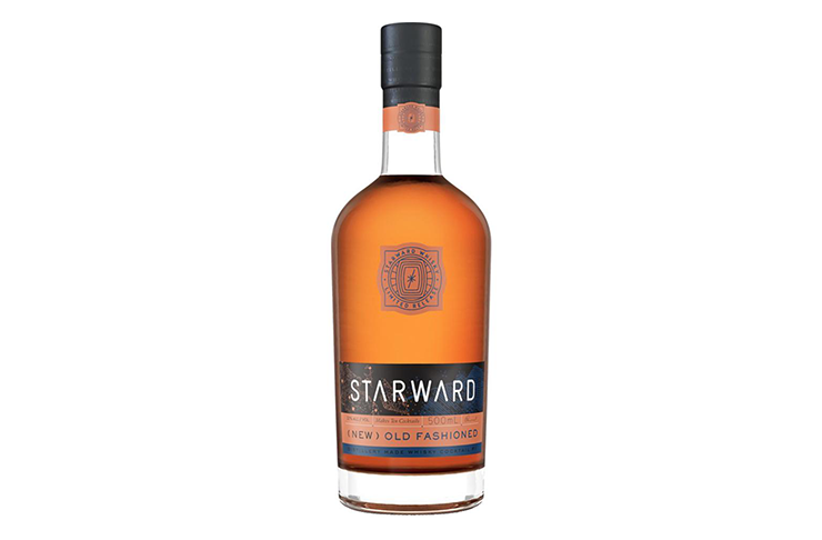 A home bar essential, a bottle of Starward Whisky on a white background.