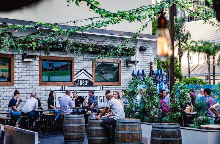 a rooftop garden bar