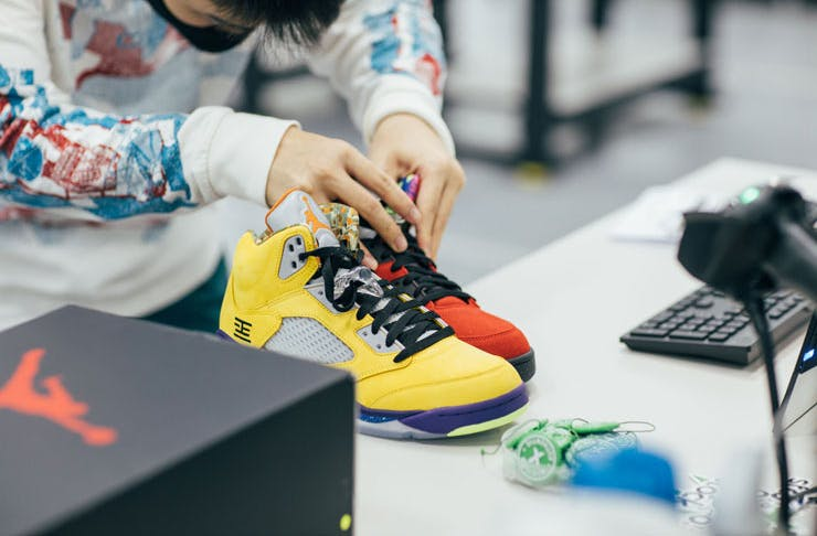 Sneakers going through an authentification process at StockX