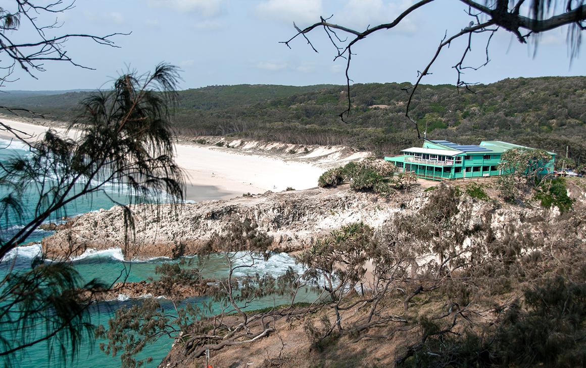 the eastern beach of stradbroke island seen through trees from a hill