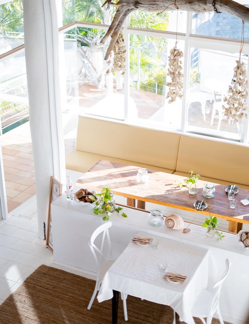 interior of a beach-themed restaurant