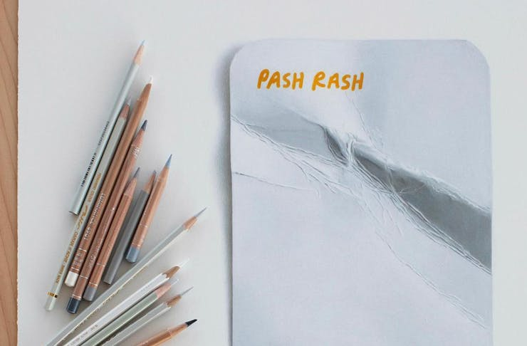 a drawing of a card that says pash rash