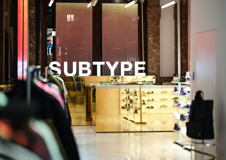 Sneakers on display at Subtype Store in Sydney.