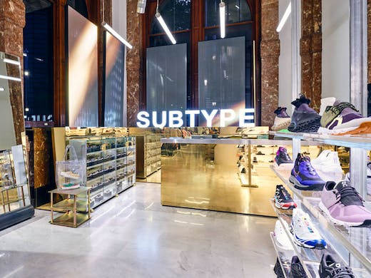 The gold front desk at Subtype Store in Sydney.