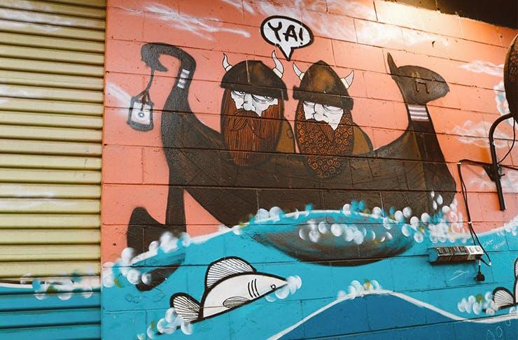 a viking mural
