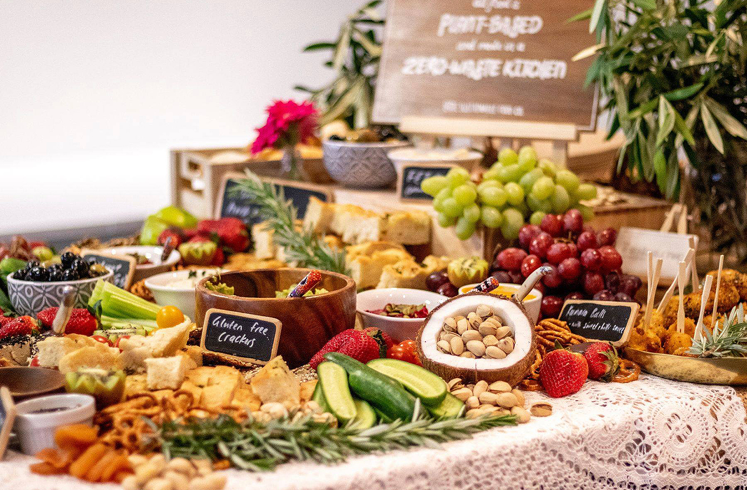 A platter from the Sustainable Food co company showing all sorts of goodies waiting to be devoured.