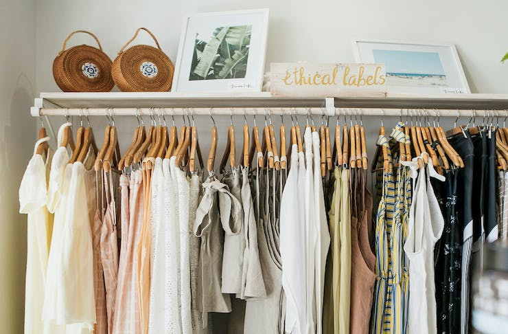 A rack of ethical clothing labels in a Sunshine Coast boutique.