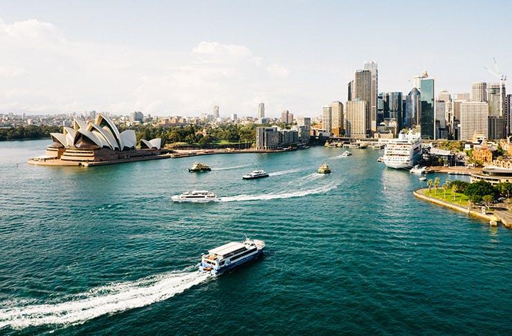 Sydney Harbour drenched in sunshine.