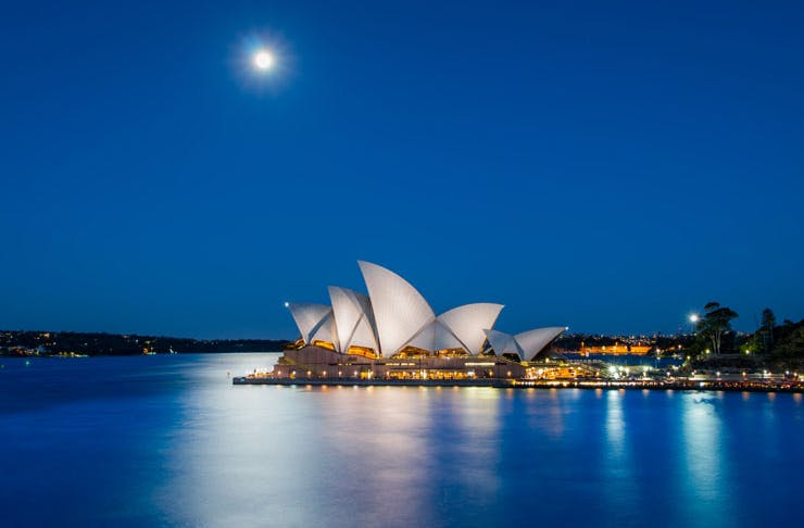 Sydney Harbour in winter, under a full moon.