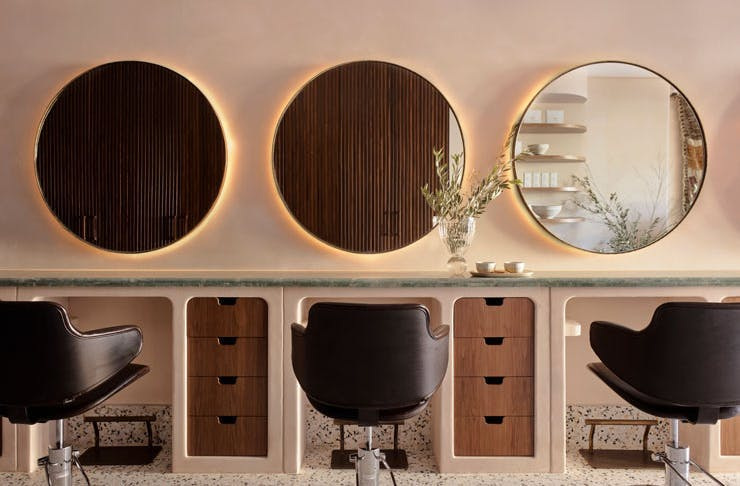 Chairs and mirrors at Headcase Hair salon in Sydney