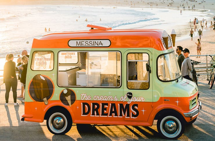 The Messina food truck parked at Bondi Beach on a sunny day.