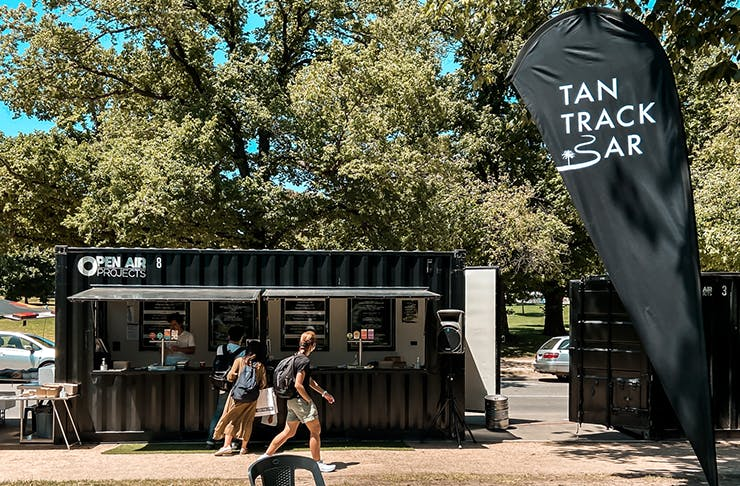 A pop-up container bar along the Tan Running  Track.
