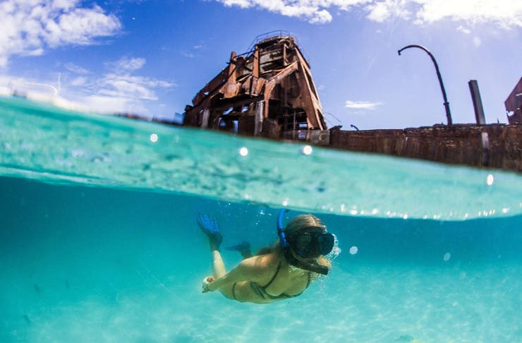 a woman snorkelling under shipwrecks