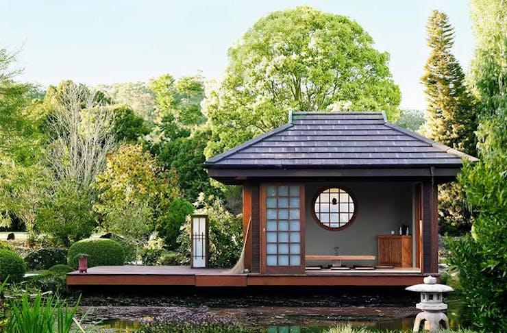 A landscape shot of a beautiful Japanese garden in Currumbin Valley.