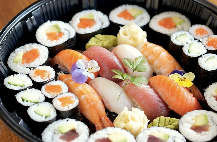 Delicious sushi in a take away dish from Tanto Japanese Dining