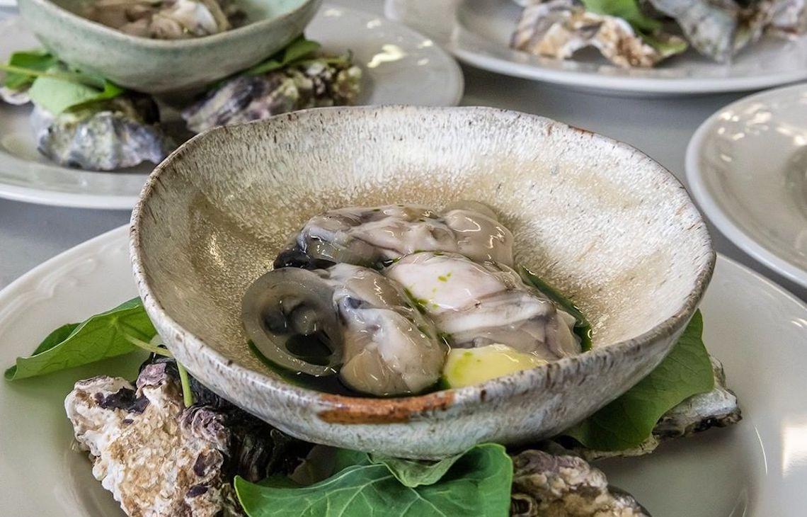 Bowl of raw seafood