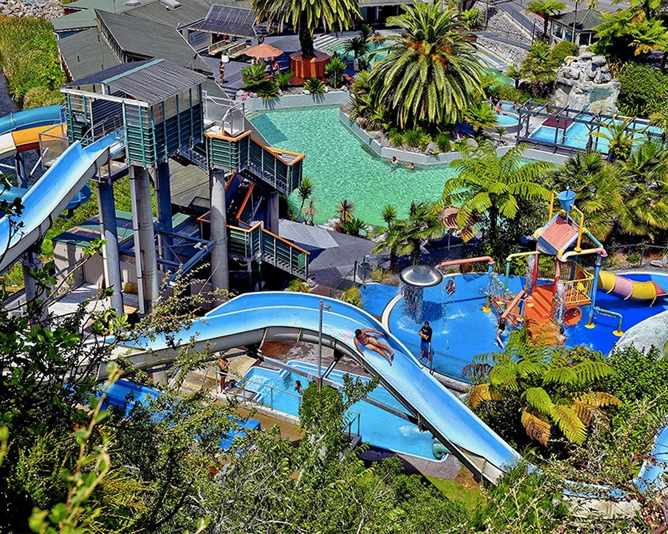 Water slides at Taupo DeBretts.