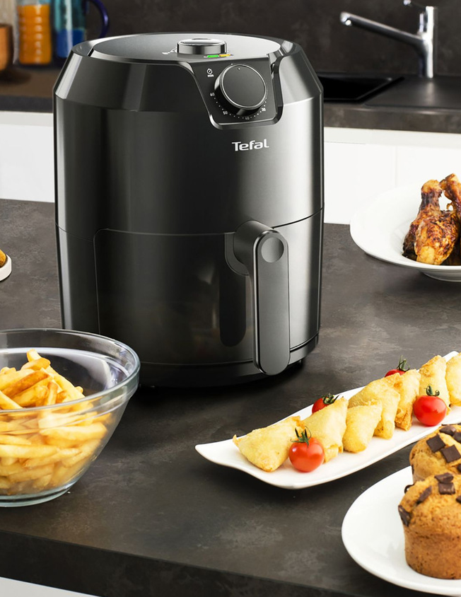 One of the best air fryers sitting on a kitchen table.