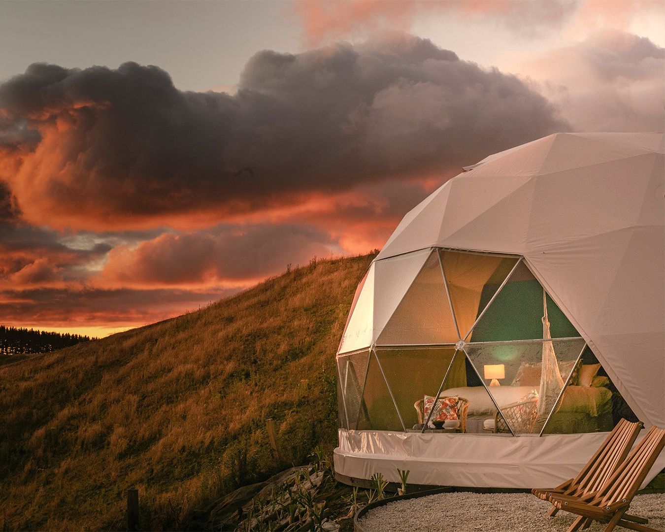 Te Tuhi Dome looks over countryside, looking like the ideal glamping spot.