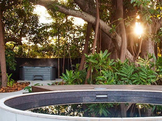 an outdoor bathhouse