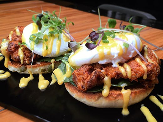 The Block Cafe auckland, fried chicken eggs benedict auckland, The Block Cafe review