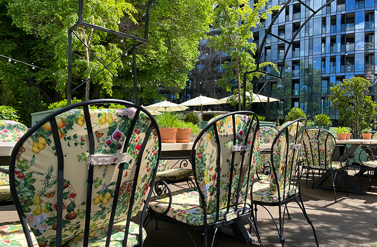 A long table at an outdoor bar underneath lush, green trees. A skyscraper towers in the background.